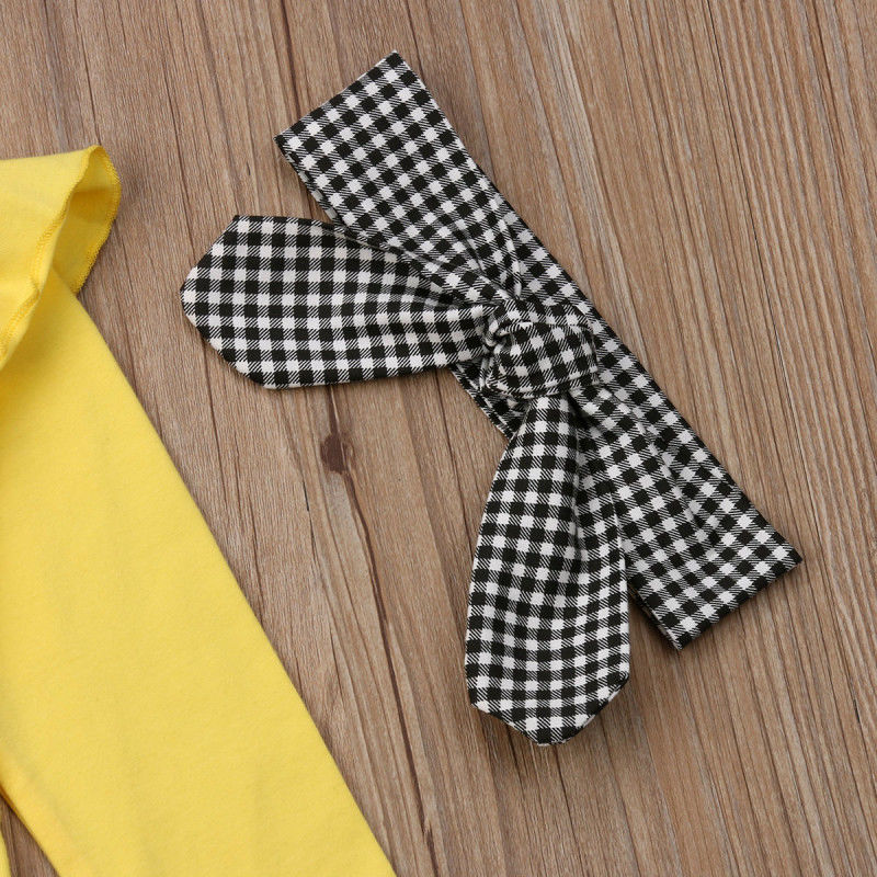 Little Girls Plaids Clothes Sets Toddler Kids Baby Girl Ruffle Tops Plaid Long Pants Headband 3 Pcs Warm Outfits Clothing 2019 in Clothing Sets from Mother Kids