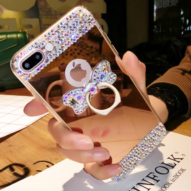 d697437f7afc For galaxy Note 8 Women Rhinestone Butterfly Case Girl Mirror Cases For Samsung  Galaxy Note 3/Note 4/Note 5/Note 8 Case Cover
