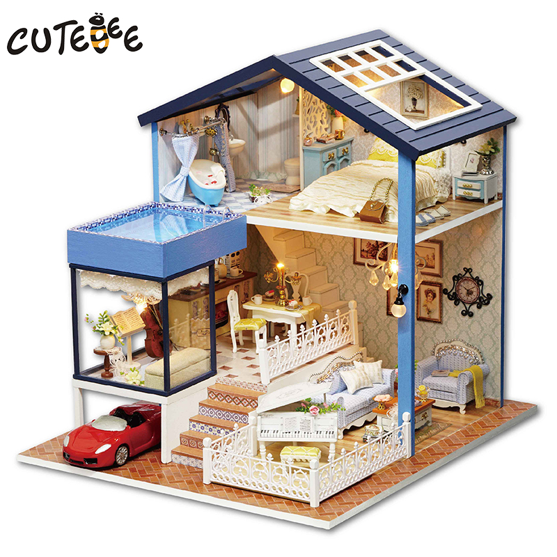 CUTEBEE Doll House Miniature DIY Dollhouse Wooden