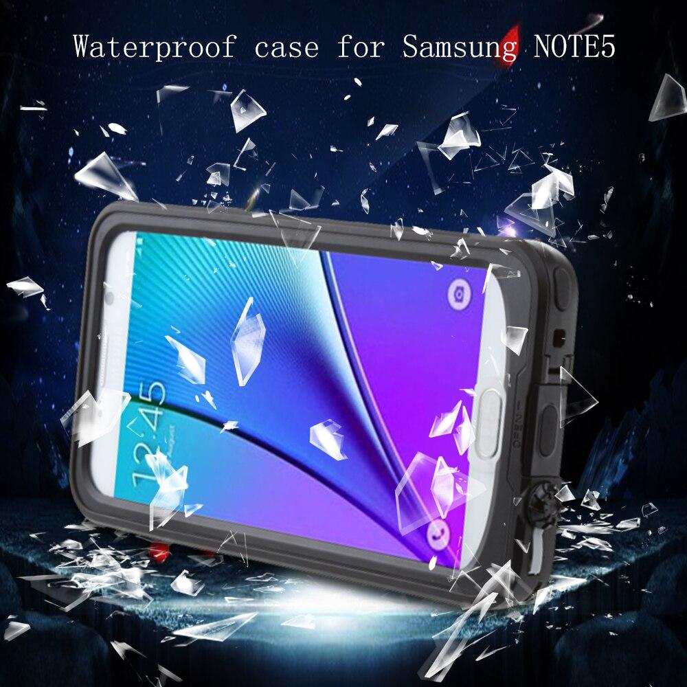 imágenes para Agua/Dirt/Choque Caso Híbrido Prueba de Cajas Del Teléfono Móvil para Samsung note5 de Aleación de Zinc + Silicio Cubierta de Agua Restist sin Cristal