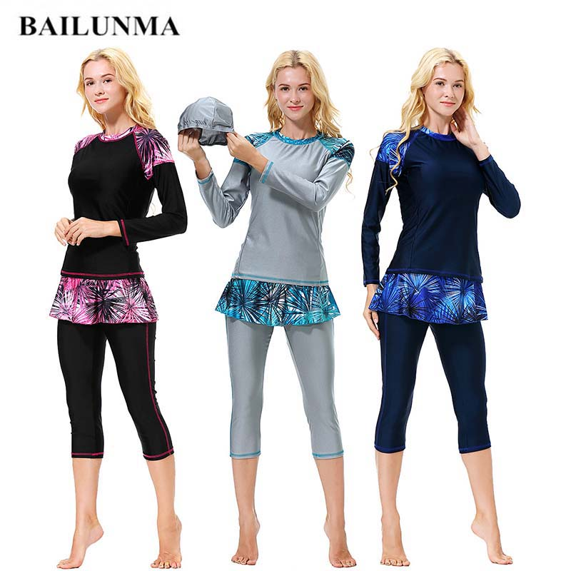 BAILUNMA Female Burkinis Muslim Swimwear Modest Swim Wear Women Swimsuit Patchwork Long Sleeve Islamic Swimsuit Hijab B1011