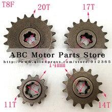 Передняя Коробка передач Звездочка T8F 11 14 17 20 т 20 зубчатая шестерня для 47cc 49cc Minimoto мини Грязь велосипед ямы мопед скутер