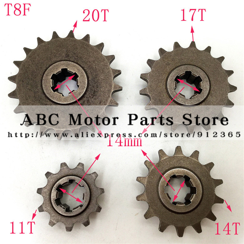 Front Gear Box Sprocket T8F 11 14 17 20T 20 Tooth Pinion For 47cc 49cc Minimoto Mini Dirt Pit Bike Moped Scooter ...