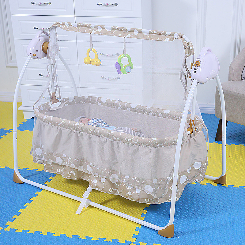 Fashion Electric Baby Crib Baby Cradle With Mosquito Nets Electric Baby Rocker Baby Swing Bed baby cradle bed hammock baby swing 0 12 iron beds with wheels mosquito net cyet6