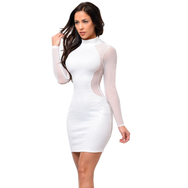 Women Sexy Black White Autumn Dress Winter High Neck Mesh Splice Party  Dresses Hollow Out Long Sleeve Vestidos Plus Size S-XL 2f130648b371