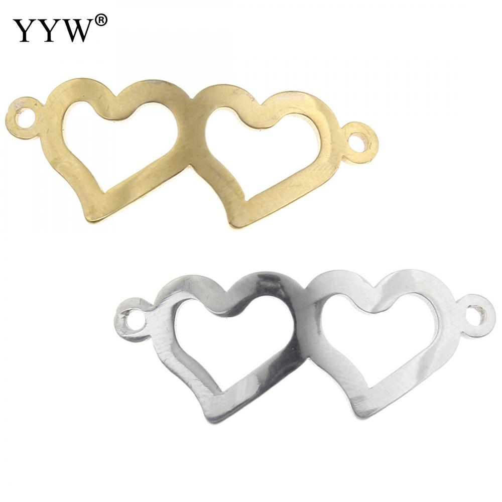 YYW Jewelry Accessories DIY Designer Beading Findings Connectors 316L Stainless Steel Hollow Double Heart 1/1 loop Connector