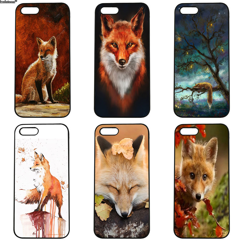 Cute Fox in Autumn Leaves Forest Cell Phone Case Hard PC Cover for iphone 8 7 6 6S Plus X 5S 5C 5 SE 4 4S iPod Touch 4 5 6 Shell