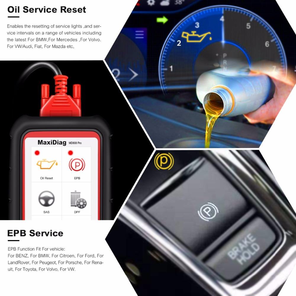 Image 3 - Autel MaxiDiag MD808 Pro все системы OBD2 Авто сканер Бортовая Система диагностики 2 автомобиля диагностический сканер Eobd Автомобильный сканер-in Считыватели кодов и сканирующие инструменты from Автомобили и мотоциклы