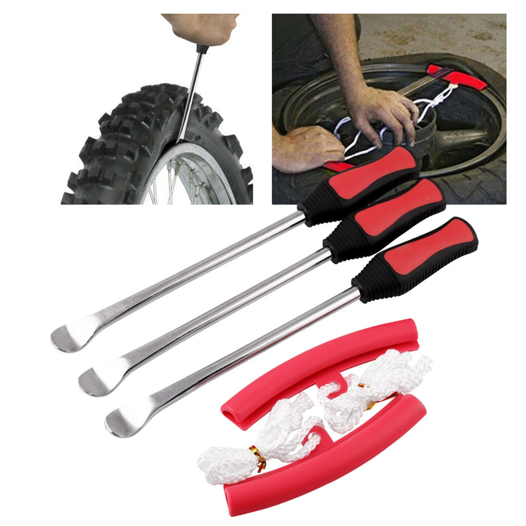 3PCS Set Auto Repair Tool For Motorcycle Bike Tire Spoon Lever Tire Repair Iron Fix Kits Change Kit Durable Bag tire crowbar