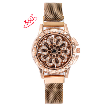 360 Degree Rotation Women Mesh Magnet Buckle Starry Sky Watch Luxury Fashion Ladies Geometric Quartz Watch Relogio Feminino