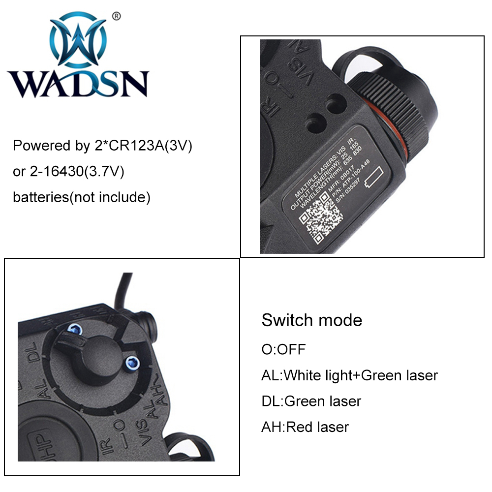 Image 3 - WADSN Airsoft PEQ15 LA 5C AN/PEQ UHP Green and Red Double Laser Flashlight for Hunting Softair LA5 Zero stop WEX450 Weapon Light-in Weapon Lights from Sports & Entertainment