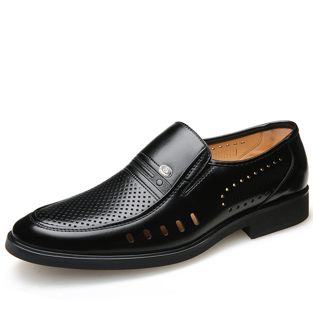 Men Formal Shoes 2019 Summer Breathable Fashoin Mens Leather Dress Shoes Office Business Shoes for Men Father Flats