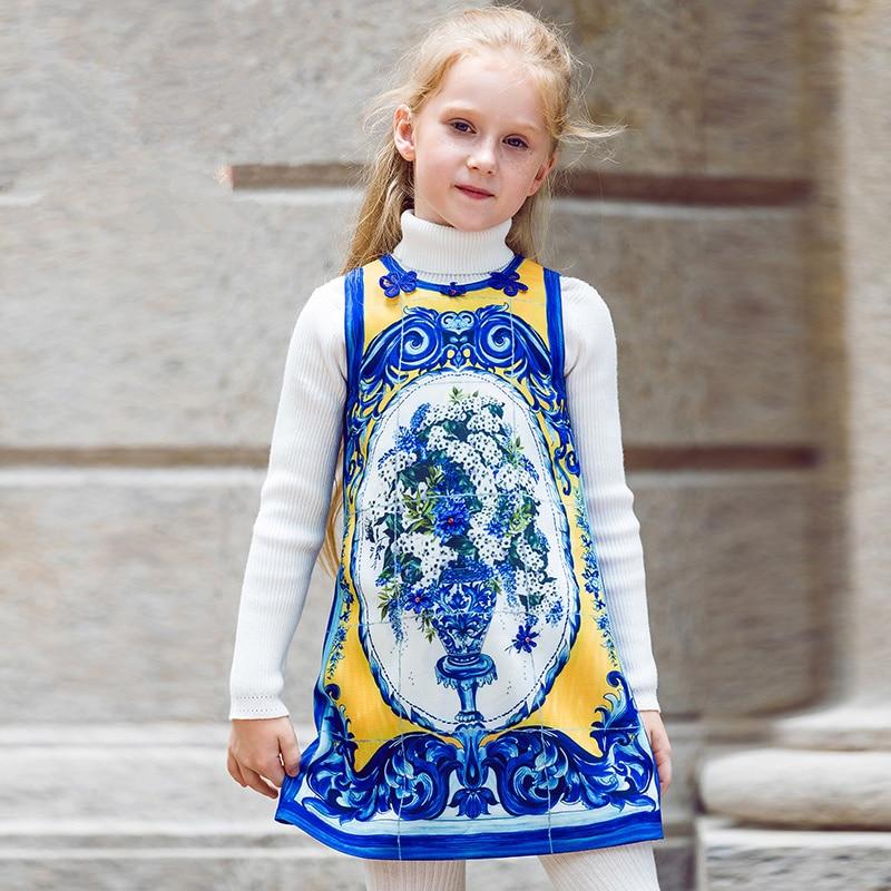 Летние девочки платья с принтом 2017 Бренд малыш платье детей Принцесса костюм халат филь детская одежда 1