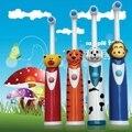 Водонепроницаемый Электрическая зубная щетка для Детей мультфильм поворот головы электрическая зубная щетка free доставка