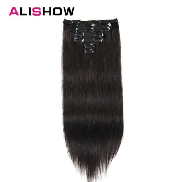 Alishow Straight Hair Clip In Human Hair Extensions Natural Color