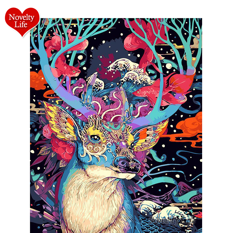 Digital Diy Oil Painting By Numbers Wall Decor On Canvas Oil Paint Coloring By Number Drawing Animal Christmas Deer Picture Gift