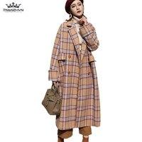 Winter Woolen Coat New Boutique Fashion Large size Plaid Women Coat Thicken Long Autumn Wool Woolen Coat Casual Outerwear Female