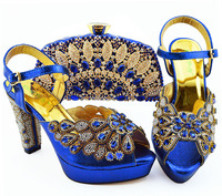 African aso ebi wedding party matching lace fabric dress shoes and bag in italian design royal blue color size 38 43 SB8363 2