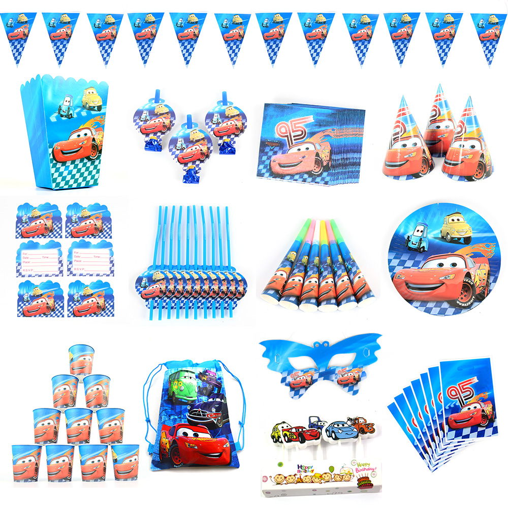Banner/Flag Hat Straw Candy Popcorn box Cars Lighting mcqueen Kids Birthday Party Set Decoration Party Supplies Paper Cup Plate