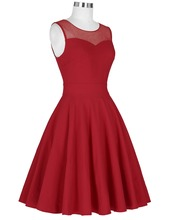 Women Dress Sleeveless Round Neck High Stretchy Pleated A-Line Dress Short Gown robe Pin up 60s 50s Rockabilly Dresses vestidos