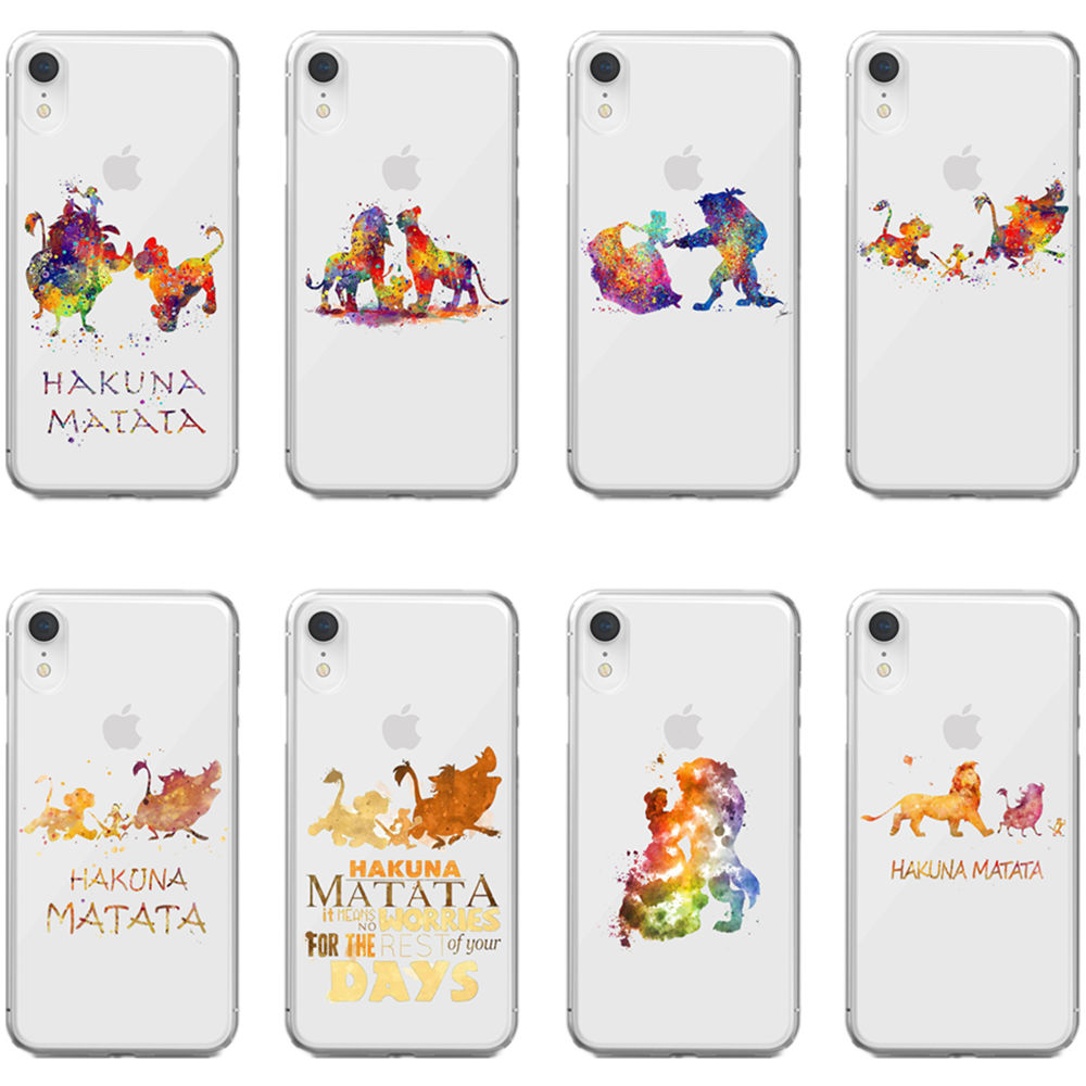 Watercolor art <font><b>Lion</b></font> <font><b>king</b></font> <font><b>HAKUNA</b></font> <font><b>MATATA</b></font> soft silicone TPU cover phone case for iPhone MAX XR XS X10 6SPlus 7 8Plus 5 5SE 6 6S 7 8 image