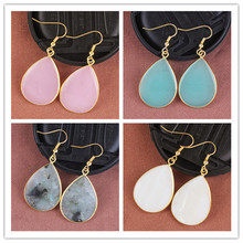 Trendy-beads Elegant Style Light Yellow Gold Color Water Drop Hook Earrings Various Stone Jewelry