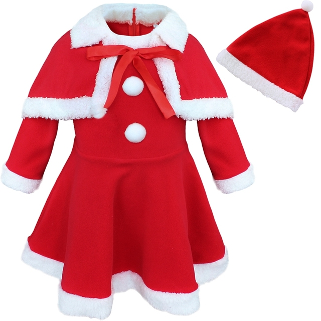 b946a2ce1f065 Red Girls Baby Infant Christmas Santa Claus Fleece Trim Dress with Hat  Cloak Cape Princess Costume Party Outfit Xmas Clothes