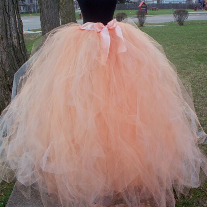 HandmadeFashion floor length Wedding Tulle Skirt Overskirt Girls Fluffy Adult Tutu Dance Mesh Skirt Petticoat Faldas Saias Jupe