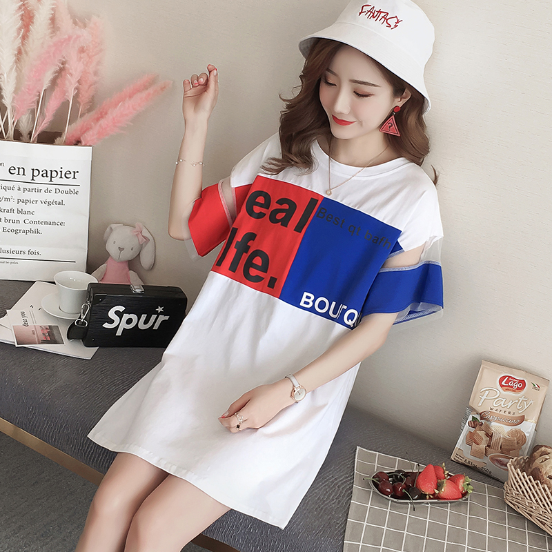 163 Maternity dress 2018 summer Korean version pure cotton loose comfortable casual t-shirt dress pure color v neck hollow maternity t shirt