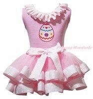Pâques oeufs plaine moutons à carreaux chaton arc Super filles peinture laçage rose coton Top Dot Satin Trim jupe filles Outfit Set NB-8Year