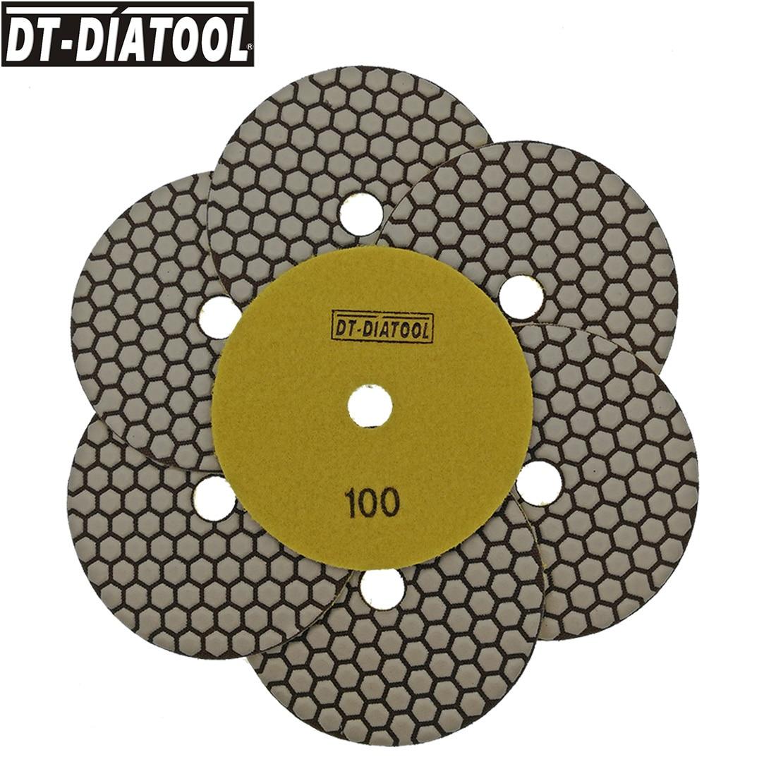 DT DIATOOL 7pcs 125mm 100 dry Sanding pads dia 5 inch Resin bond diamond flexible polishing