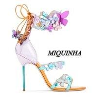Приятные глазу цвета бабочка украшение женщины сандалии кружева обложка пятки супер стилет каблук туфли с открытым пятки партия обуви