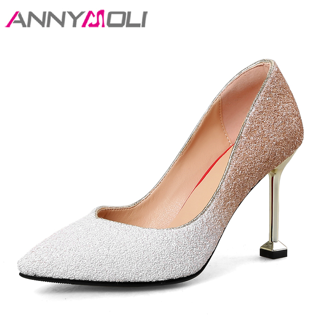 ANNYMOLI Women Pumps High Heels Wedding Shoes Bridal Bling Kitten Heel  Fashion Ladies Shoes White Pointed Toe Large Size 33-43 7bcb7498e3e3