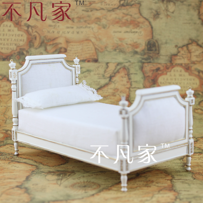 Doll house for mini ature1 : 12 miniature mini furniture handmade gold bed ...