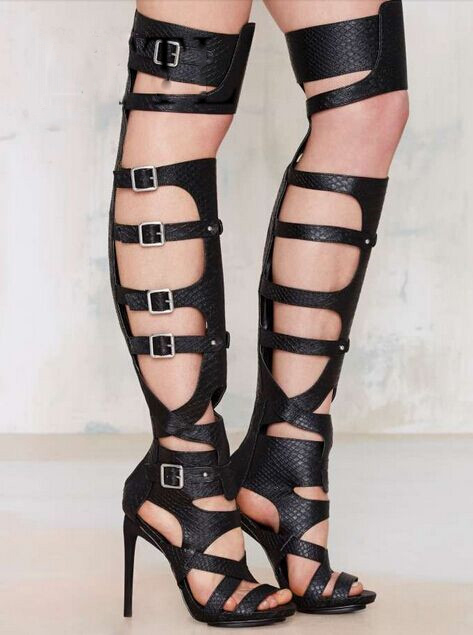2017 black gladiator sandal boots fashion buckle summer thigh high boots high heels sandals women big size ladies shoes 2015 summer new rome sweety shining buckle belt women sandal high heels weomen sandal breathable comfort women sandals e937