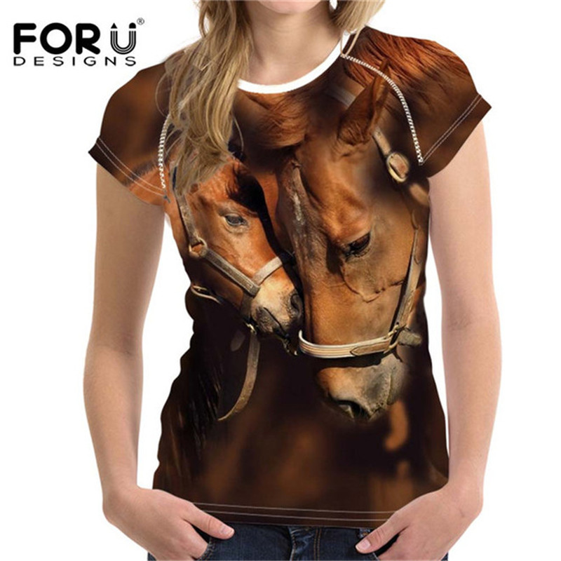 FORUDESIGNS Crazy Horse Women T Shirts For Teen Girls Short Sleeved Womens Tops Bodybuilding Slim Female Tee Shirt Woman Clothes