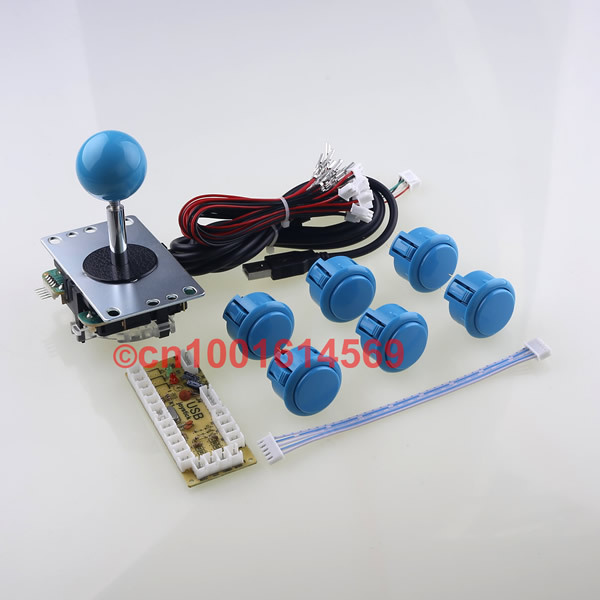 1 Kit Button For PC Controller With Sanwa Buttons & Joystick For Arcade Games & Single Player Multicade Keyboard Arcade Encoder