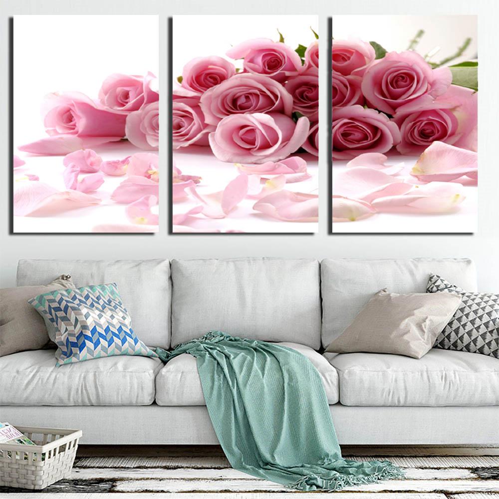3 Pcs/Set Framed Flower Canvas Print Rose Bouquet Pink ...
