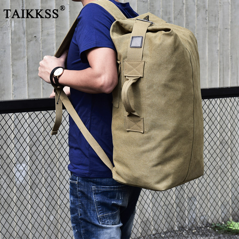 Vintage Men Luggage Travel Canvas backpack Bucket Multifunctional mountaineering Backpacks Large Shoulder Bag Casual bag 2 sizes