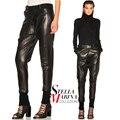 2017 Europeu Mulheres Calças De Couro do Inverno Cintura Ajustável Belt Pockets Cuff Trecho Lápis Calças Femininas Casual Calças PU 1869