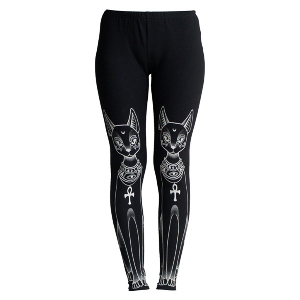 Punk Style Black Egyptian Cat Stamp Hippie Fashion Gothic Skinny Casual Pants   Leggings