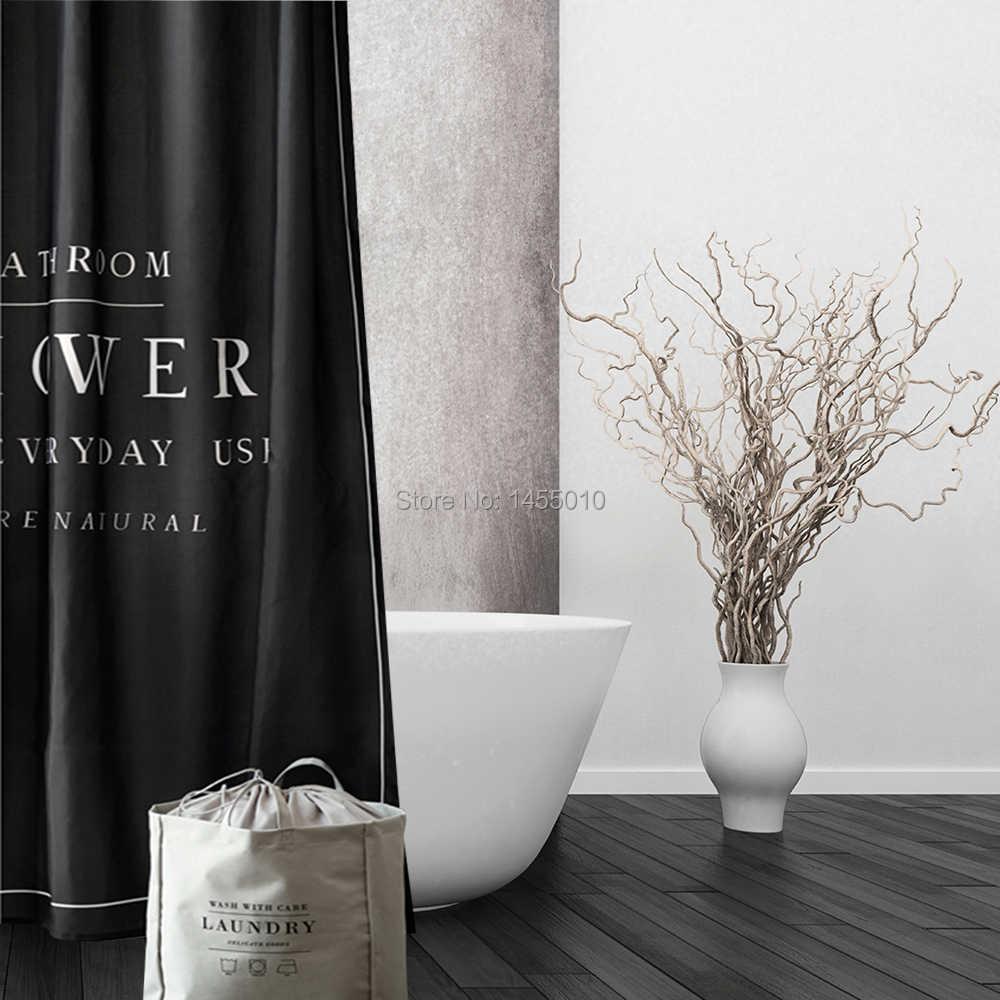 شجرة سعيدة البوليستر أبيض أسود ستارة حمام دش مقاوم للماء الستار رشاقته النسيج الحمام الستار حجم 180x180cm