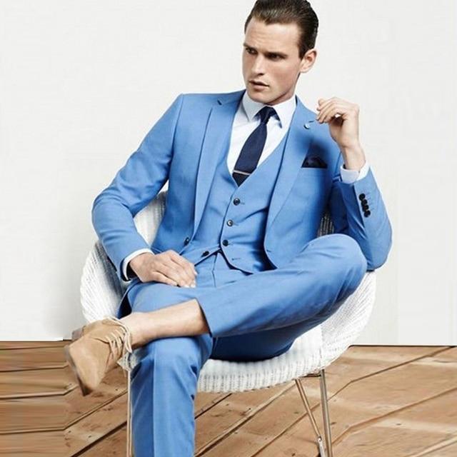 dda54e7f4197b US $81.35 28% OFF|FOLOBE Custom Made Mens Light Blue Suits Formal Men Suit  Set men wedding suits groom tuxedos(jacket+pants+vest)-in Suits from Men's  ...