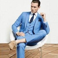 FOLOBE Custom Made Mens Light Blue Suits Formal Men Suit Set men wedding suits groom tuxedos(jacket+pants+vest)