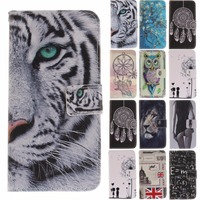 Wallet Cover For Huawei Honor 9 Stamp Tiger Lion Cartoon Sexy Girl Animal Flip PU Leather
