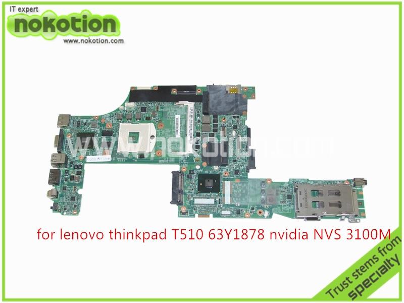 FRU 63Y1878 48.4CU06.031 Laptop motherboard For Lenovo thinkpad T510 QM57+Nvidia Quadro NVS 3100M board Mainboard