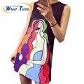2016 Venda Quente de Verão Sem Mangas Vestido de Maternidade Padrão Dos Desenhos Animados Casual Ultra Light Ultra Fino Vestido de Algodão Para As Mulheres Grávidas