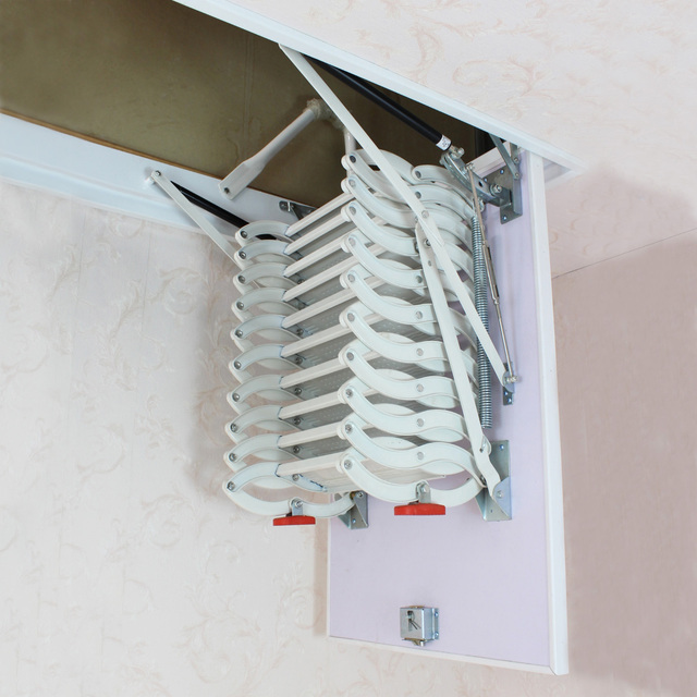 750*900mm attic retractable stairs aluminum-magnesium alloy double stealth indoor lift / folding expansion ladder 1