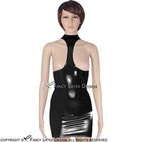 Schwarz Sexy Halter Latex Kleid Mit Brüste Offen Hohe Kragen Zip Zurück Kleid Bodycon Overall Plus Größe LYQ-0014