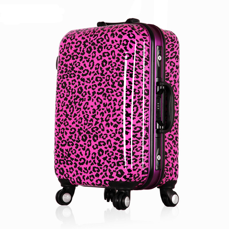 Aliexpress.com : Buy Women Print Leopard Travel Suitcase Aluminum ...